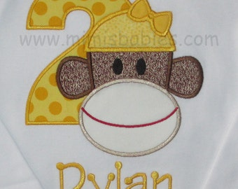 Sock Monkey Girl  Yellow Girls Sock Monkey Birthday Shirt