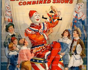 Large Vintage Digital Circus  Poster Art Print  Instant Download  JPG file