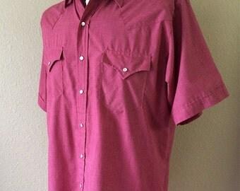 Vintage Men's 80's Shirt, Plains Western Wear, Red, Short Sleeve, Button Up (L)