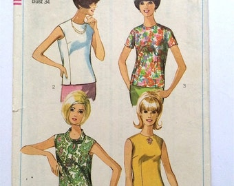 Vintage Sewing Pattern Women's 60's Simplicity 6930, Sleeveless Overblouse (S)