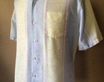 Vintage Men's 80's Shirt, Cotton, Pastel, Striped, Button Up, Short Sleeve (L)