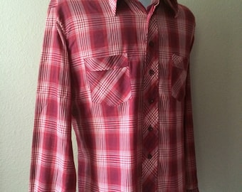 Vintage Men's 80's Shirt, Burgundy, Red, Plaid, Button Up by Cellini Clollection (XL)