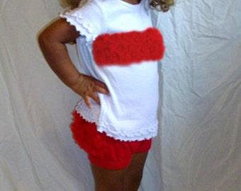 Bright Red Chiffon Ruffle Bloomers and Tee Set Ruffled Pants Ruffled T-shirt 12M  In Stock for immediate shipment