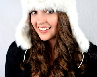 Vintage white Rabbit Fur Winter Bomber Hat with Flaps