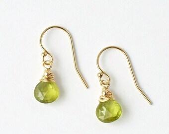 Peridot Earrings / Peridot Dangles / Gold Peridot Earrings / Small Green Gemstone / August Birthstone Jewelry / Push Present / Dainty