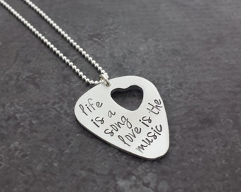 Personalized Sterling Guitar Pick Necklace with Heart Cut out - Hand Stamped Necklace