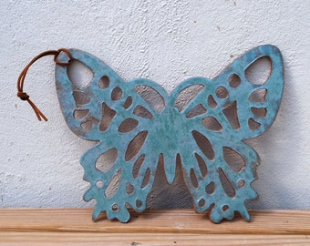 Wall Decor, Butterfly, Home Decor, Butterflies, Garden, Wall, Ceramic, Handmade, Wall Art, Wall Hanging, Wall Decor, Green, Big Dog Pots
