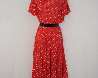 Red & White Polka Dot Vintage 60s Accordion Pleated Mid Calf Dress Lolita Retro M