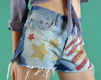 Levi Cutoffs Shorts 80s Revamped Vintage High Waist Levis 501 / American Flag Jean Shorts Frayed Denim Cutoffs / Abstract USA Flag 32 Waist