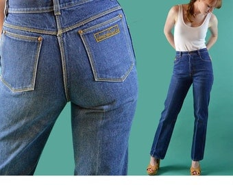 Vintage 80s High Waisted Jeans / GLORIA VANDERBILT Jeans / Dark Denim 80s High Waist Mom Jeans / Slim Fit Straight Leg Jeans / 28 Waist