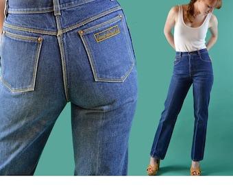 80s High Waisted Jeans GLORIA VANDERBILT Jeans Dark Denim 80s High Waist Mom Jeans Vintage Denim Slim Fit Straight Leg Jeans / 32 Waist XL