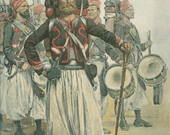 1886, French Zouaves - Drummers, Resistance Campaign, Antique Print, French Army Typogravure 8, Franco-Prussian War, Édouard Detaille