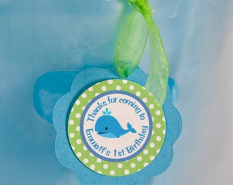 Whale Theme Favor Tags, Preppy Ocean Birthday Party Decorations in Blue and Green - Boy Birthday Party Decorations (12)