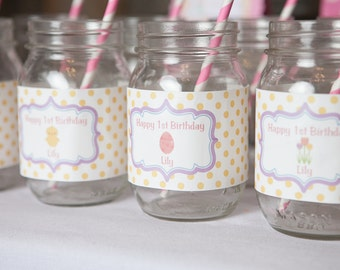 Pastel Water Bottle Labels - Spring Birthday Party Decorations - Baby Chick Birthday - Easter Birthday - Pastel Labels - Girl Birthday (12)