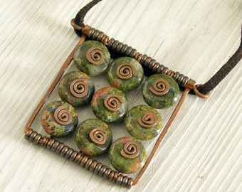 Pendant boho pink salmon forest green unakite casual pendant nine tile square copper spiral swirl made in Israel