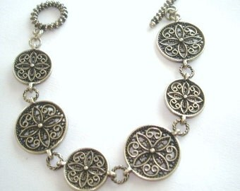 Circles with Stars Silver Tone  Bracelet