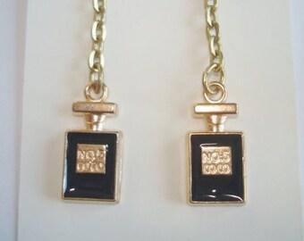 No 5 Jet Black Gold Tone Dangle Earrings