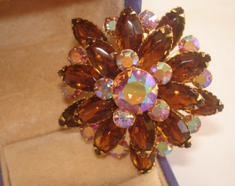 Topaz and AB Rhinestone  Brooch Gold Tone