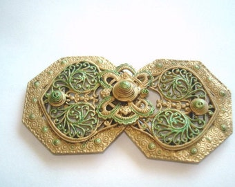 Made in Czechoslovakia Vintage Victorian  Sash Belt  Buckle Jewelry Green Gold Tone Filigree