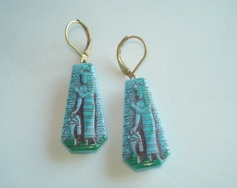 Attributed to Neiger Egyptian  Revival  Style Dangle Vintage Jewelry Blue Earrings