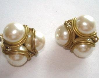Pearl Gold Tone Clip Earrings