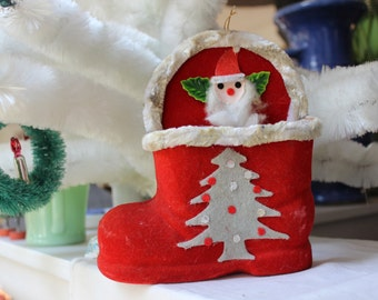 Santa Boot Red Flocked Candy Holder Christmas Decoration Chenille Felt Japan VINTAGE by Plantdreaming
