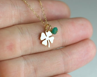 Four Leaf Clover Necklace - Gold Lucky Charm Necklace - Good Luck Necklace - Four Leaves Shamrock - Gold Shamrock Necklace - Shamrock Charm