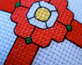 Patriotic England St George Cross Tudor Rose Cross Stitch Handmade Hanging Ornament Home Decor