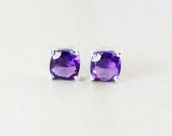 Purple Amethyst Studs - Cushion Cut - February Birthstone