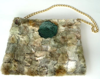 Fake Fur Purse - Green Mottled - Celtic Irish - Hand Made - Camouflage - Leather Rose - Unique - OOAK - Zipper - Gold Chain - St Patricks