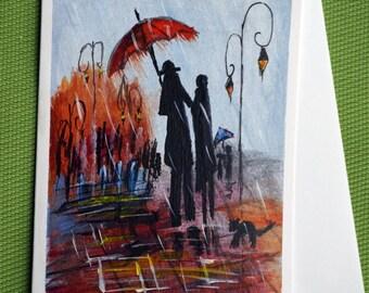 In Rain III - Hand Painted Abstract Greeting Card