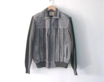 Vintage Mens 80s slate grey suede and sweater jacket / Hipster Folk cardigan jacket outerwear