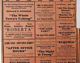 1930s MOVIE THEATRE SCHEDULE, Senator Theatre, Chico, Calif.  1935