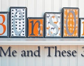 Wood letter name blocks - Custom to your style - Navy white orange grey boy antler deer buck arrows