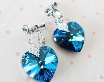 Clip On Earrings - Bermuda Blue Swarovski Heart Crystal Non-pierced Earrings, bridal Cubic Zirconia, blue weddings, bridesmaid earrings