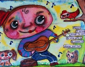 Music is my love language Boy playing Guitar Original Painting