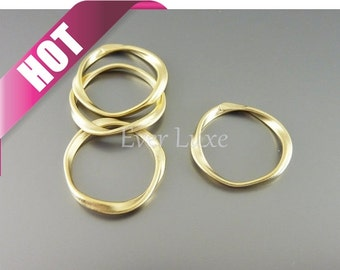Best selling item / 4 twisted ring pendants, ring connectors, circle rings, metal hoops, jewelry P1115-MG (matte gold, pendants, 4 pieces)