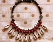 Bohemian Necklace, Cowrie Shell Necklace, Gypsy Jewelry, Boho Necklace, Tribal Jewelry