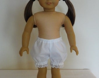 Short White Bloomers Panties for 18 inch American Girl Doll