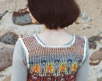 Tapestry Crochet Vest Peacock Fantasy
