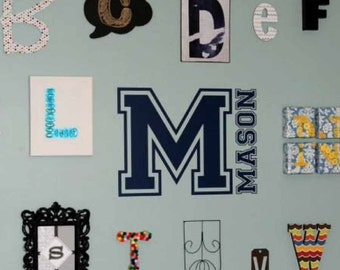 Sports Varsity Letter, Boy wall decal, Boy Monogram, Name decal, Sports bedroom décor, Teen Room, Athlete wall decal, vinyl lettering LL0978