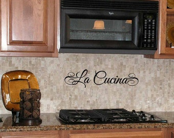 La Cucina wall decal, Italian Tuscan kitchen, Italy decor, foreign phrases, vinyl lettering quote (LL1102)