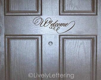 Welcome front door decal, welcome vinyl decals, welcome door decals, vinyl door decal, porch decal, entry vinyl lettering VR1301