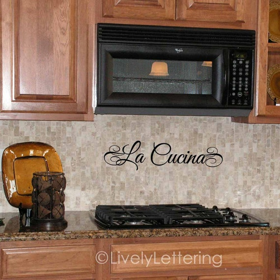 La cucina wall decal italian tuscan kitchen italy decor for Stickers cucina