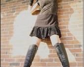 Dress - Steampunk - Bohemian Gypsy - Short - A line Dress - Burning Man - Boho Ruffles - Sexy - Knee High - Size Medium
