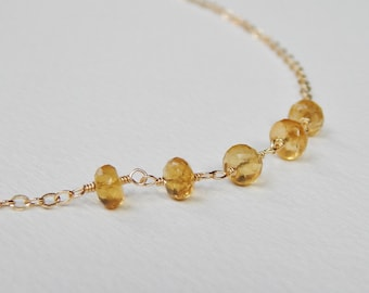 Citrine Necklace - Gold Filled Beaded Necklace Beadwork Necklace Bead Rosary Necklace With Faceted Citrines