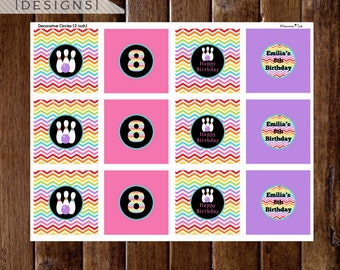 Rainbow Chevron Bowling Cupcake Toppers or Party Circles - Rainbow Bowling Theme - Bowling Birthday Party - PRINTABLE DESIGNS