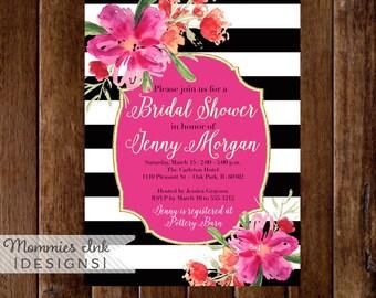 Bridal Shower Invitation, Floral Black and White Stripes Shower Invitation, Gold Glitter Bridal Shower, Watercolor Floral, DIY Printable