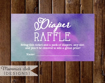 Purple and Teal Watercolor Diaper Raffle Ticket, Watercolor Diaper Raffle, Printable Raffle Ticket, Baby Shower Raffle, Shower Printable