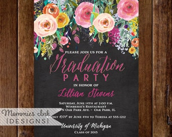 Graduation Party Invitation, Watercolor Flowers Invitation, Floral Invitation, Chalkboard Invitation, DIY, Class of 2016, Open House Invite